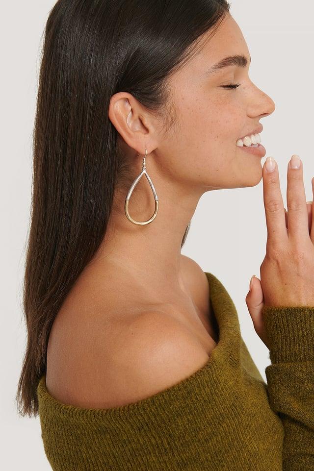 Silver/Gold Two-Toned Drop Earrings