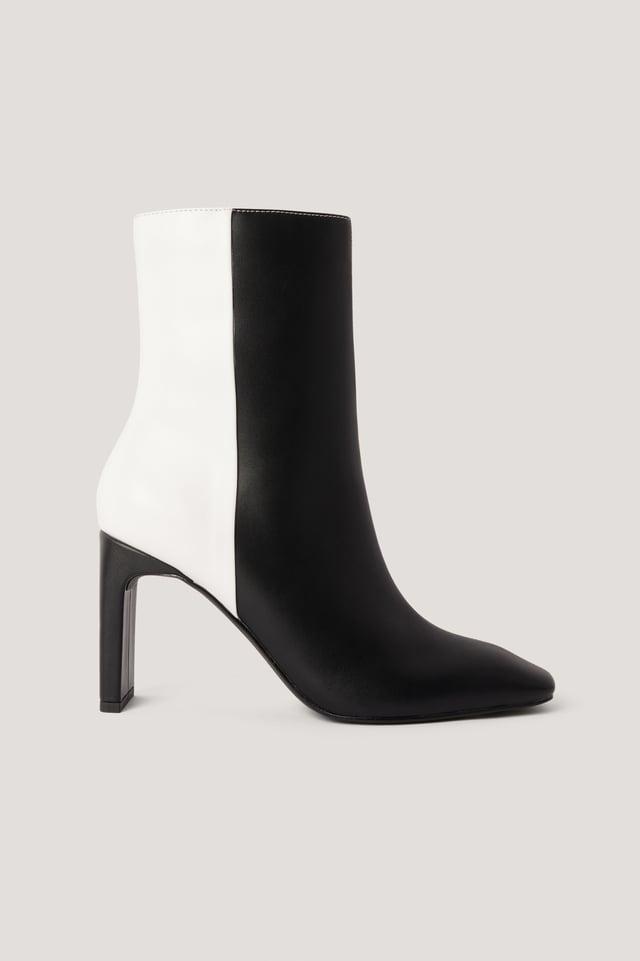 Black/White Two Toned Square Toe Boots