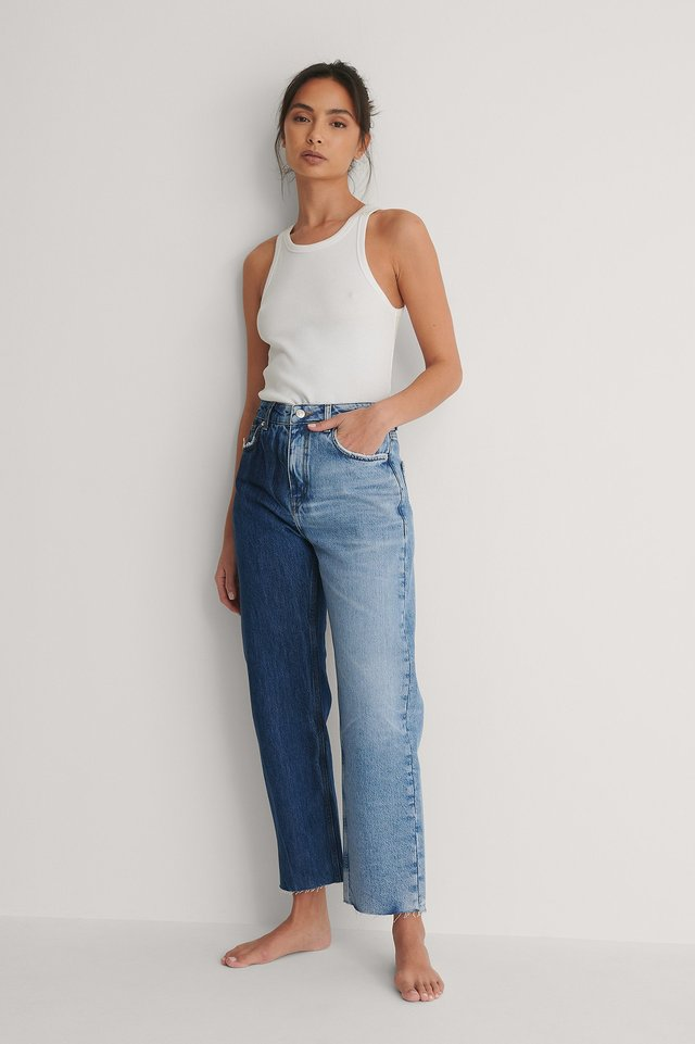 Blue Organic Two Toned Straight High Waist Raw Jeans