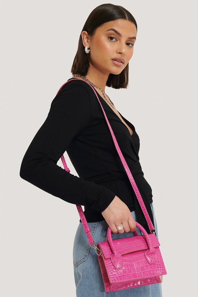 Two Way Mini Top Handle Bag Hot Pink