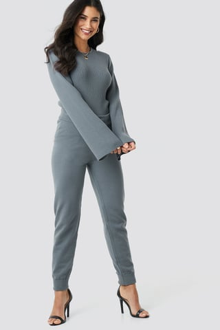 Grey Ty Knitted Pants