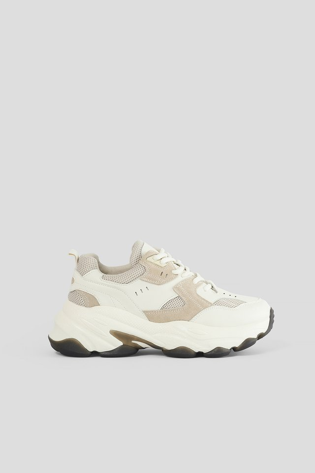 Beige Trainers Med Sula