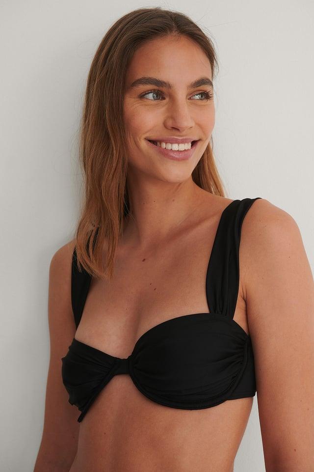 Black Recycled Underwire Draped Bikini Top