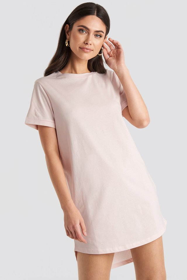 Pink Uneven Hem Oversized T-shirt Dress