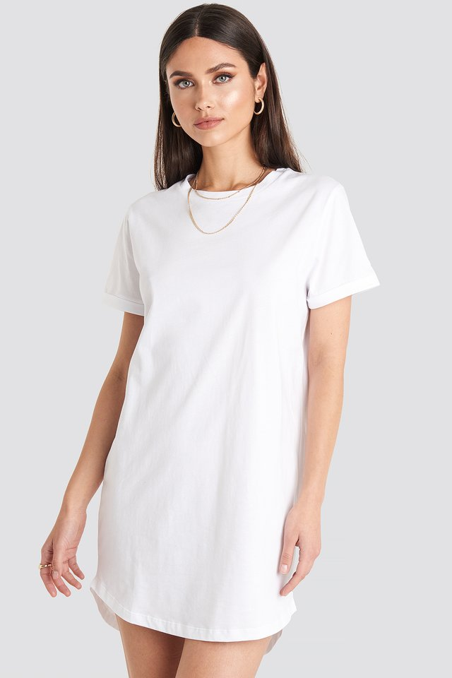 Uneven Hem Oversized T-shirt Dress White