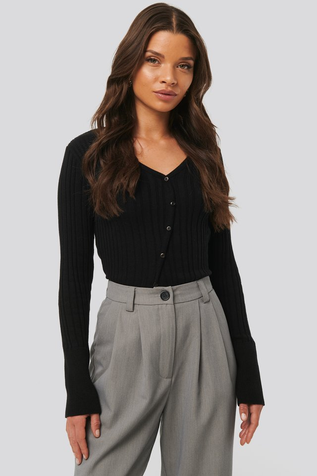 Black Uneven Rib Button Detail Top