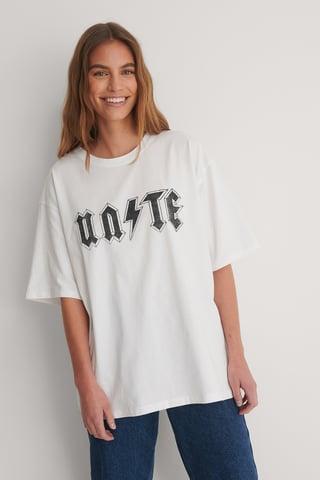 White Organic Unite Printed Tee