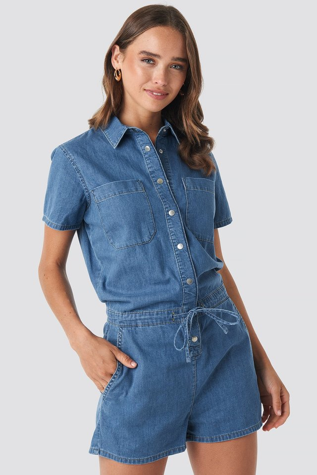 Utility Denim Playsuit Mid Blue