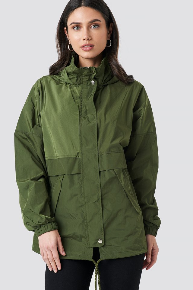 Olive Green Utility Zip Jacket