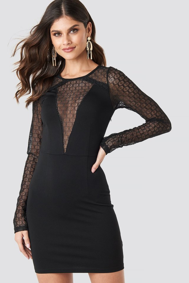 V-Detail Fitted Lace Dress Black
