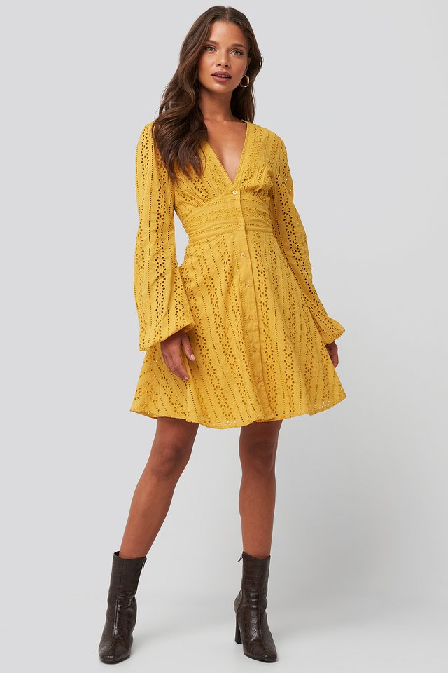 V-Neck Anglaise LS Mini Dress Mustard