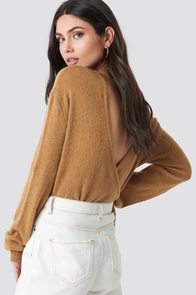 V-Neck Back Overlap Knitted Sweater Tan