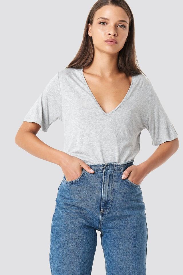 T-shirt basic z dekoltem V Grey Melange