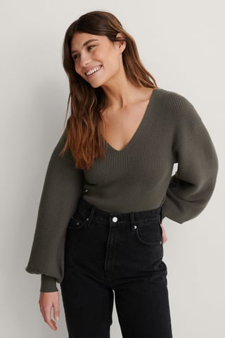 Dark Grey V-neck Big Sleeve Knitted Sweater