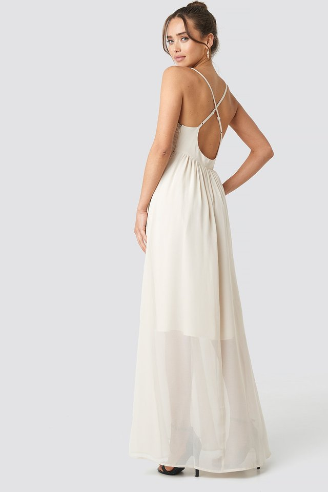 V-Neck Cross Back Maxi Dress Beige