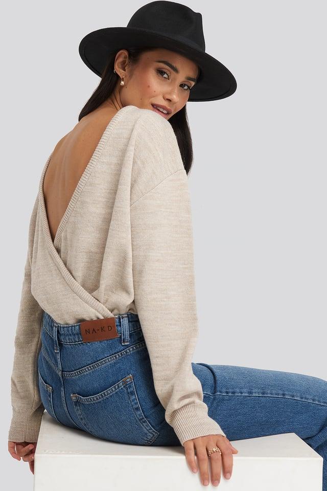 V-shape Deep Back Sweater Beige