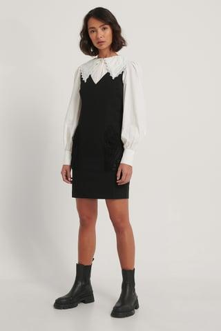 Black Sukienka Z Dekoltem W Serek