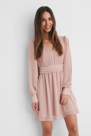 Pink Rynkad Miniklänning Med Puffärm