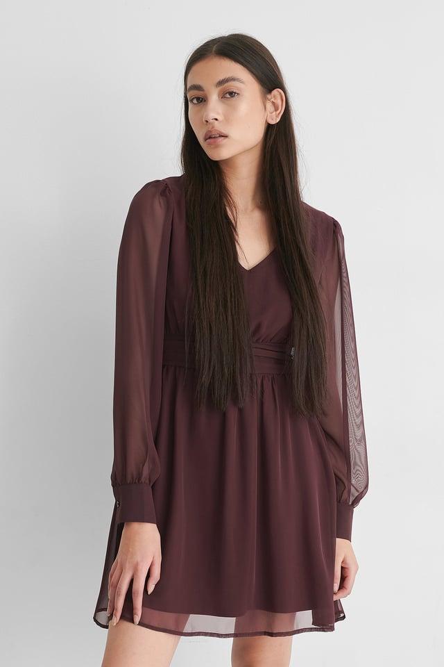 Burgundy V-Neck Gathered Mini Dress