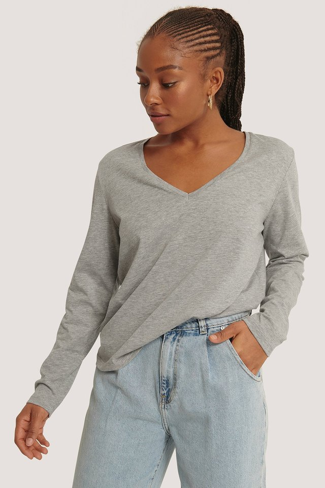V-neck Long Sleeve Top Grey Melange
