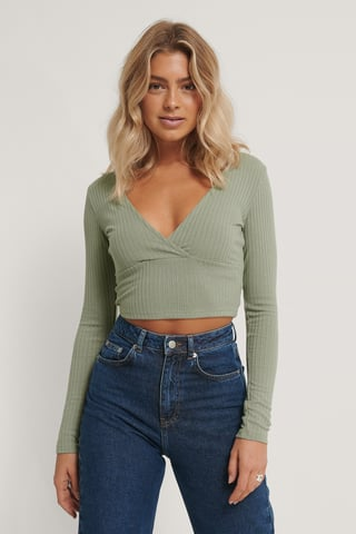 Green V-Neck Long Sleeved Top