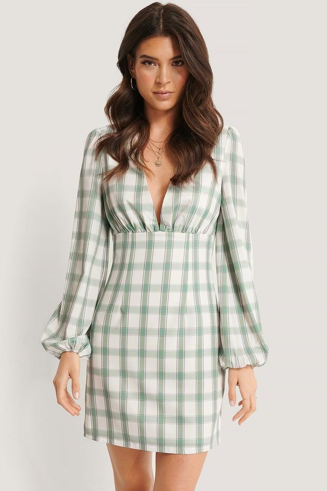 V-Ausschnitt Minikleid Checkered