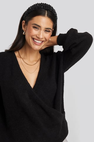Black V-Neck Overlap Knitted Sweater