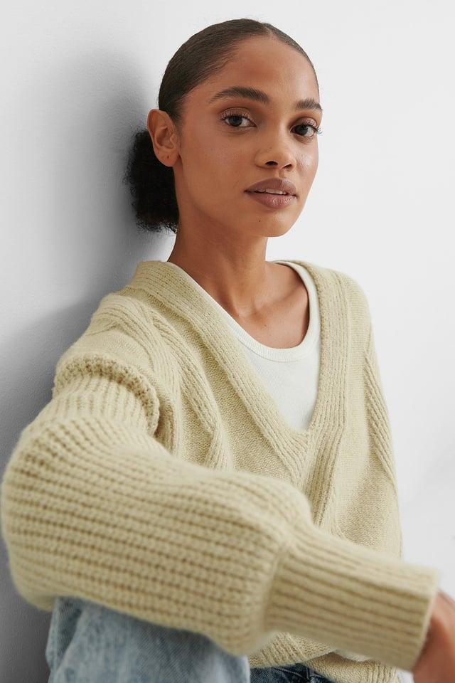 Beige V-neck Pattern Knitted Long Sweater