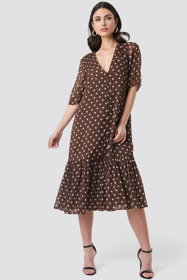V-Neck Puff Sleeve Chiffon Dress Brown Dots