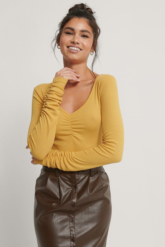 V-neck Ruched Ribbed Body Yellow