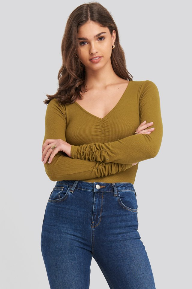 V-neck Ruched Ribbed Body Khaki