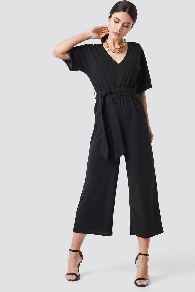 V-neck Wide Leg Jumpsuit Black