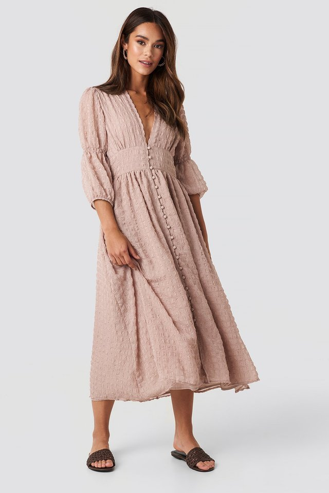 V-Shape Flowy Puff Sleeve Dress Dusty Pink