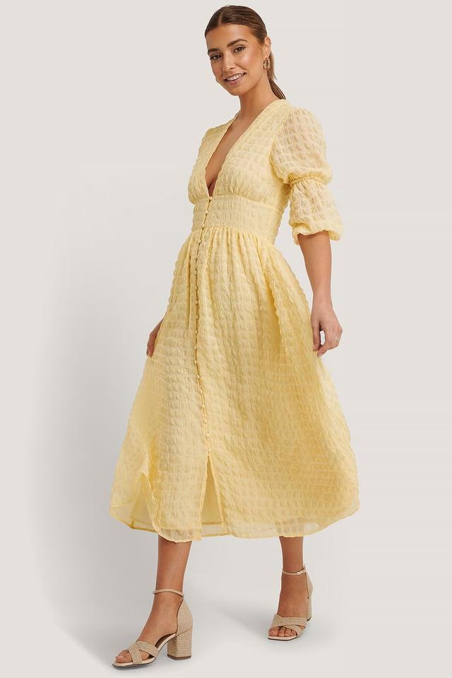 V-Shape Flowy Puff Sleeve Dress Pale Yellow