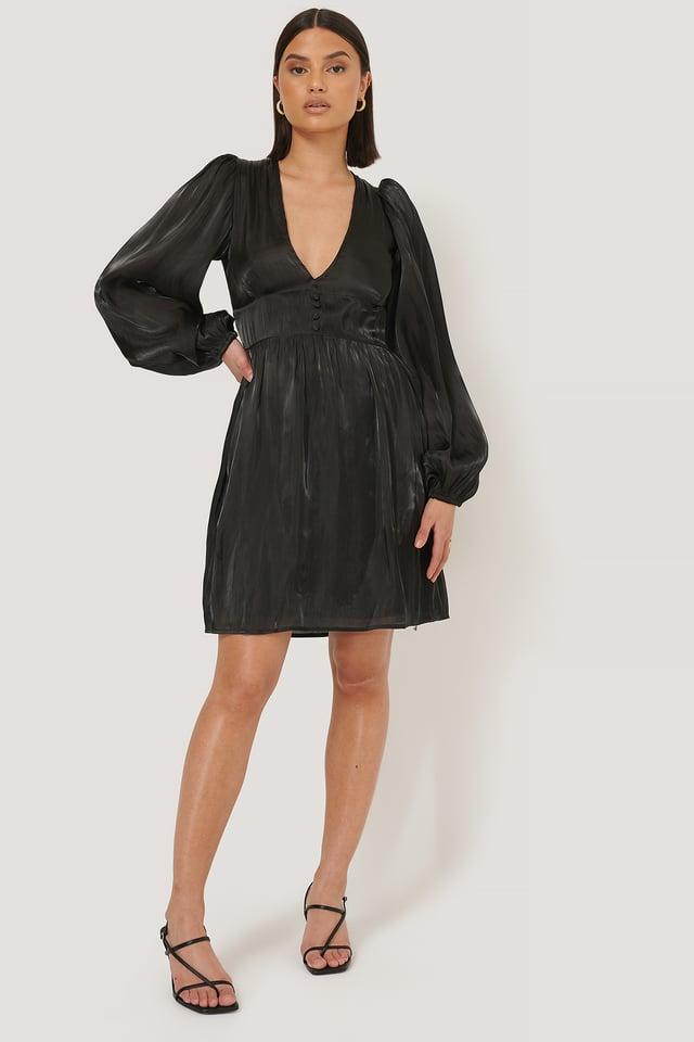 Black V-shape Structured Satin Dress