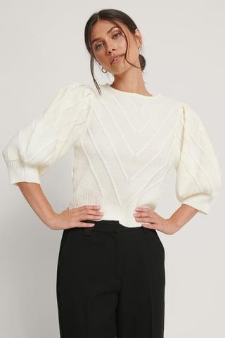 Offwhite Sweter Z Elementem Z Dzianiny
