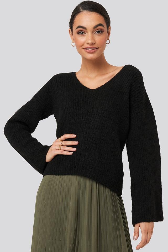 Black V Front Knit