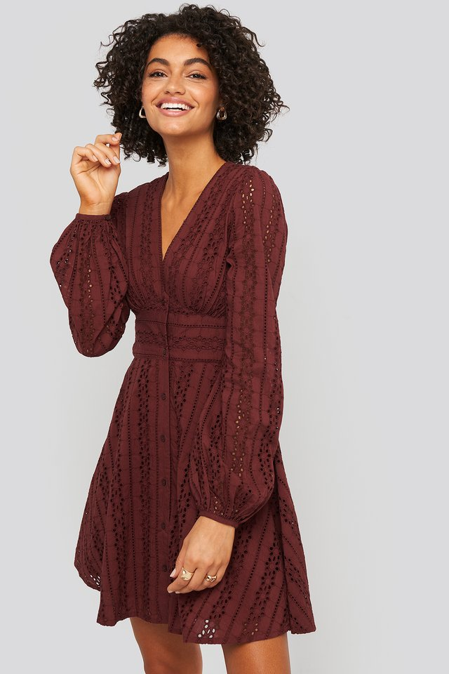 V-Neck Anglaise LS Mini Dress Burgundy