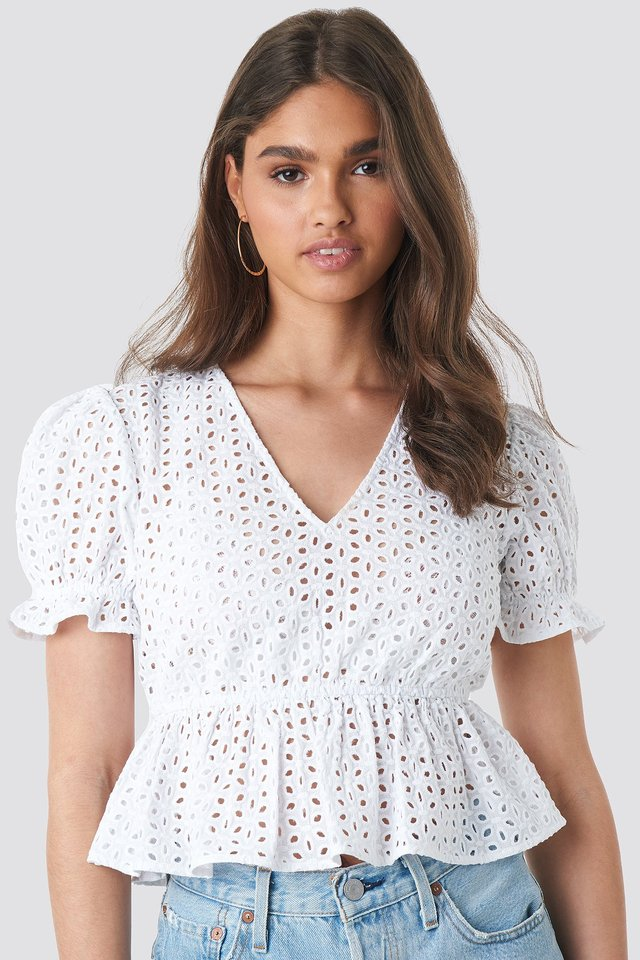V-Neck Anglaise Peplum Top White
