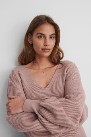 Rose V-neck Big Sleeve Knitted Sweater