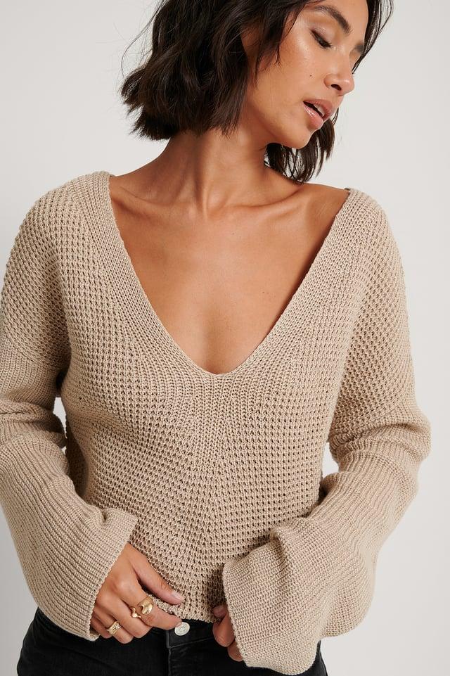 Sweater Mit V-Ausschnitt Light Beige