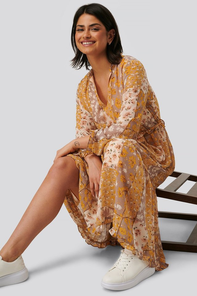 V-Neck Flower Print Chiffon Dress Mixed Flower Branches Yellow