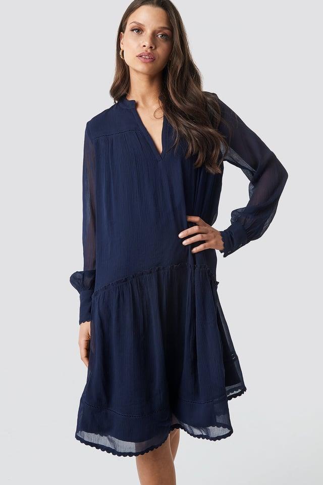 V-Neck Flowy Chiffon Dress Dark Blue