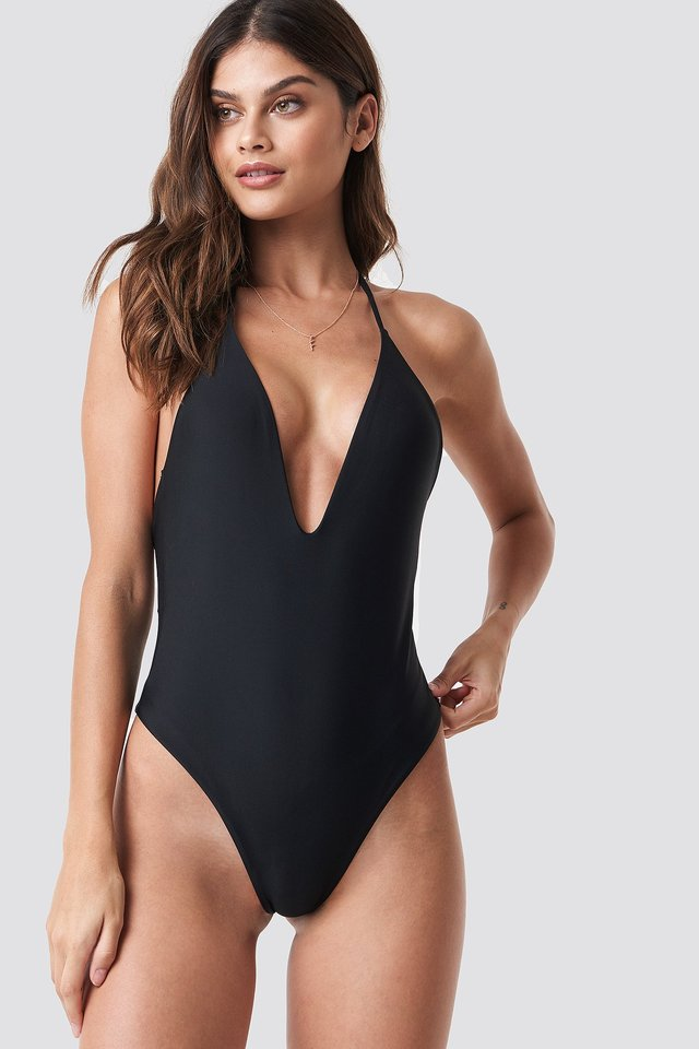 V-neck Halterneck Swimsuit Black