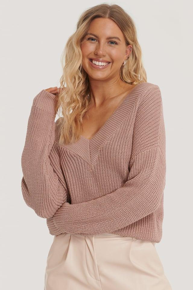 Organic V-neck Rib Knitted Sweater Dusty Dark Pink