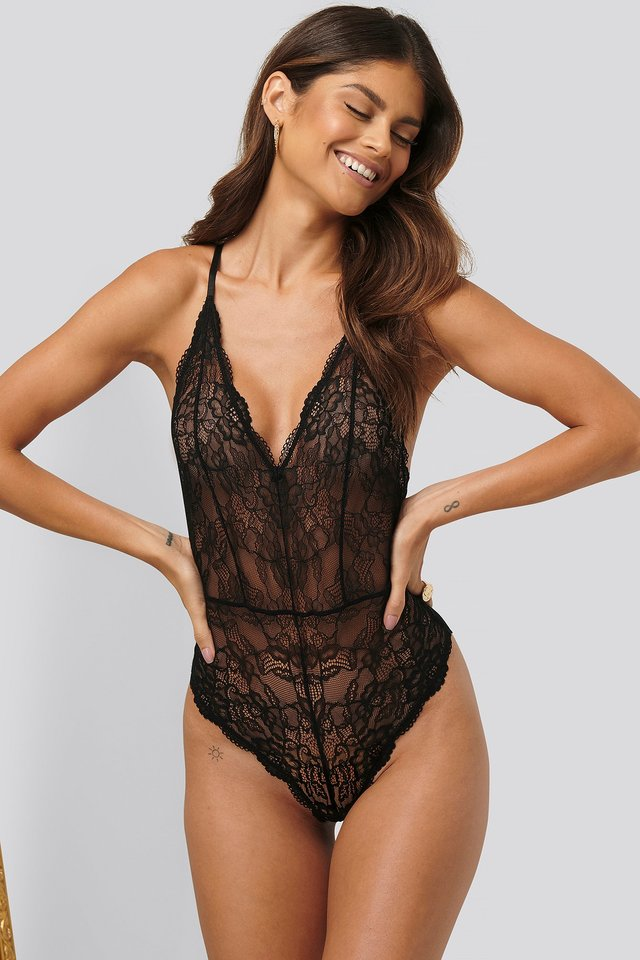 V-neck Lace Bodysuit Black
