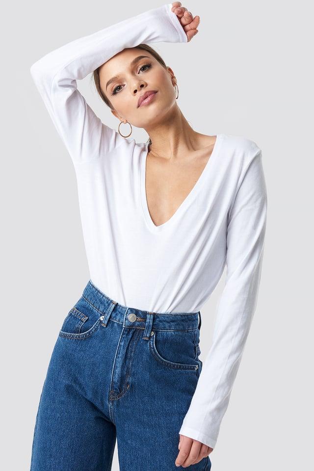 White V-neck Long Sleeve Top