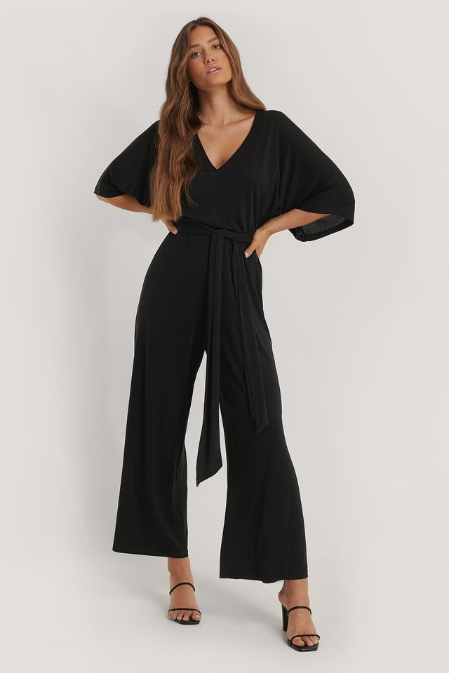 V-Neck Modal Jumpsuit Black