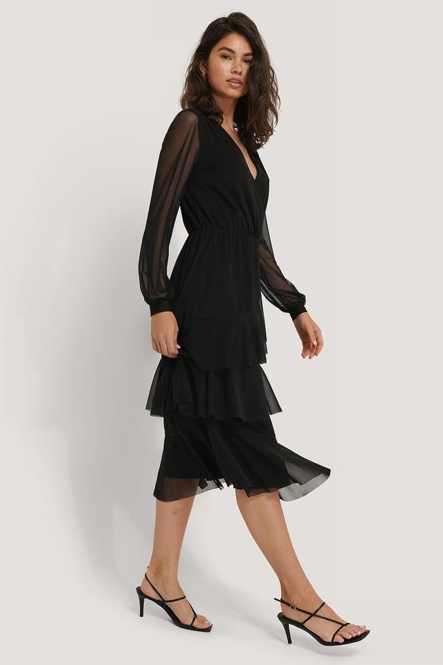 Vestido De Malla Cruzado Con Escote En V Black