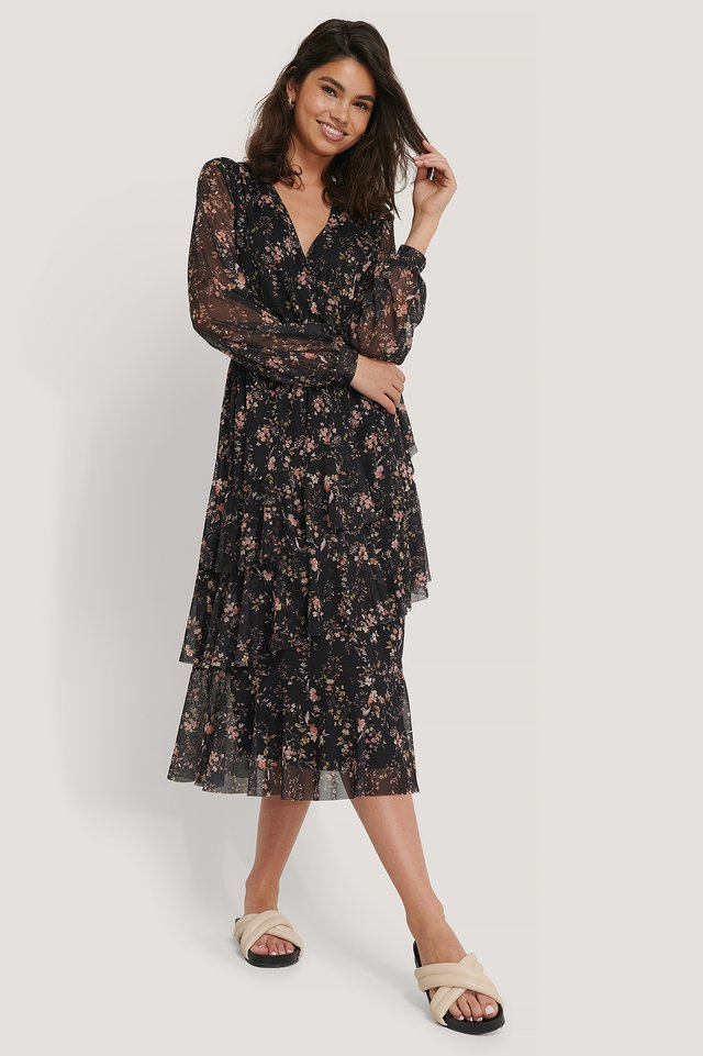 V-Neck Overlap Mesh Dress Black Flower Print